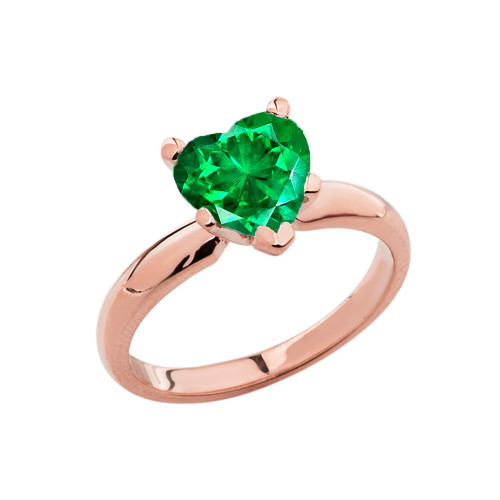 Rose Gold Solitaire Emerald (LCE) Heart Engagement Ring