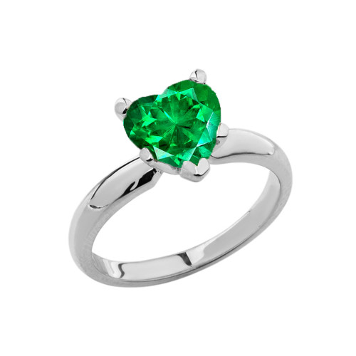 White Gold Solitaire Emerald (LCE) Heart Engagement Ring
