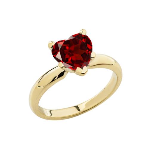 Yellow Gold Solitaire Garnet (LCG) Heart Engagement Ring