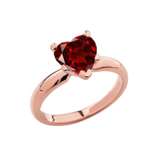 Rose Gold Solitaire Garnet (LCG) Heart Engagement Ring