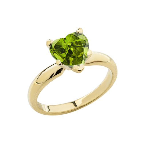 Yellow Gold Solitaire  Peridot (LCP) Heart Engagement Ring