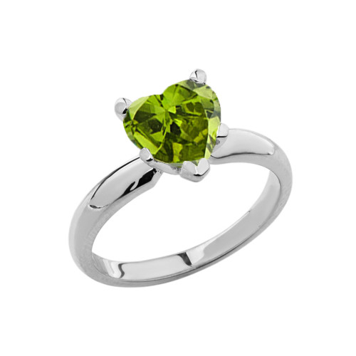 White Gold Solitaire  Peridot (LCP) Heart Engagement Ring