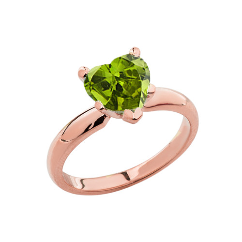 Rose Gold Solitaire  Peridot (LCP) Heart Engagement Ring
