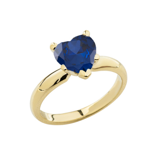 Yellow Gold Solitaire Sapphire (LCS) Heart Engagement Ring