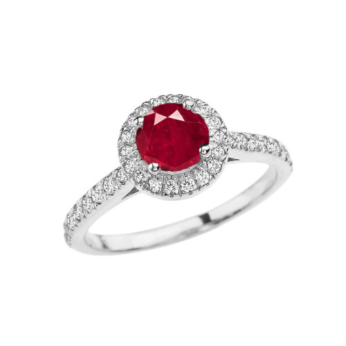 White Gold Diamond and Ruby (LCR) Engagement/Proposal Ring
