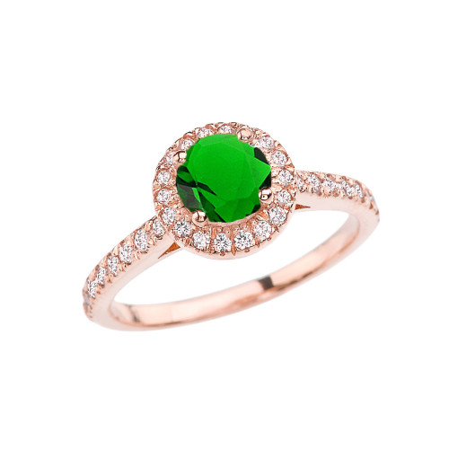 Rose Gold Diamond and Emerald (LCE) Engagement/Proposal Ring