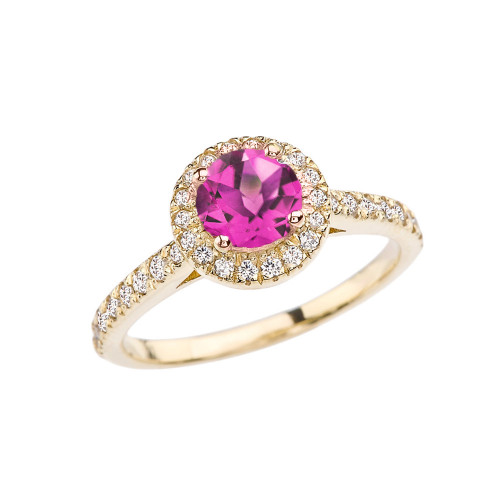 Yellow Gold Diamond and Alexandrite (LCAL) Engagement/Proposal Ring
