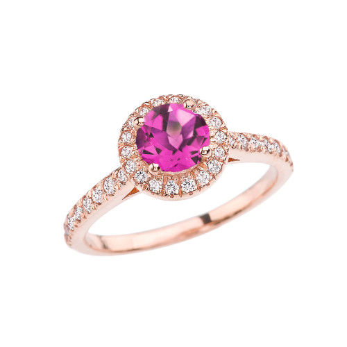 Rose Gold Diamond and Alexandrite (LCAL) Engagement/Proposal Ring