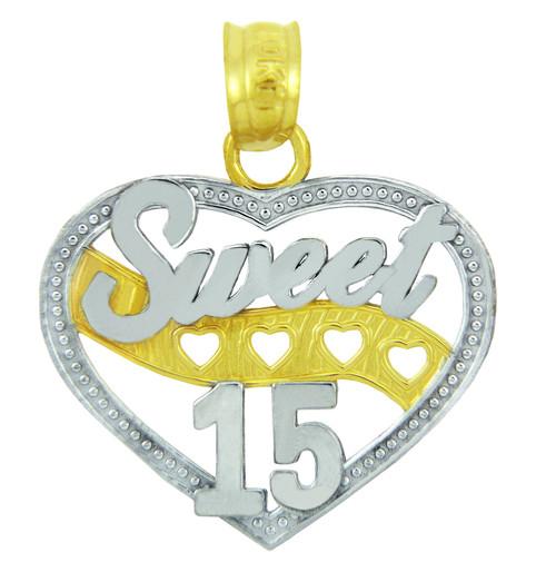 Sweet-15 Quinceanera Gold Heart Pendant