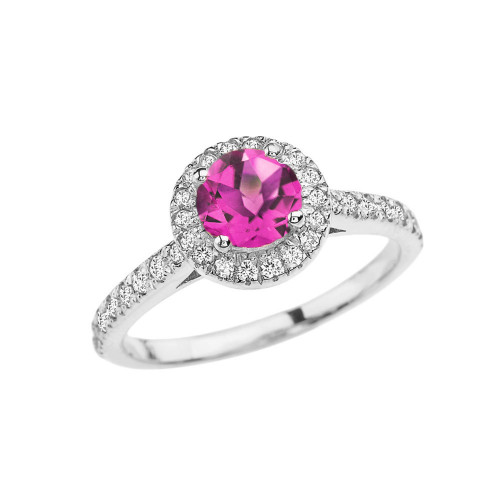 White  Gold Diamond and Alexandrite (LCAL) Engagement/Proposal Ring