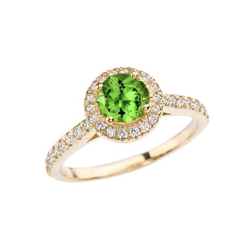 Yellow Gold Diamond and Peridot  Engagement/Proposal Ring