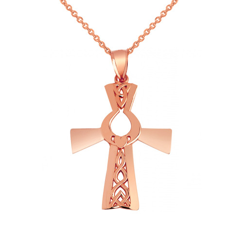 Rose Gold Irish Claddagh Cross Pendant Necklace r