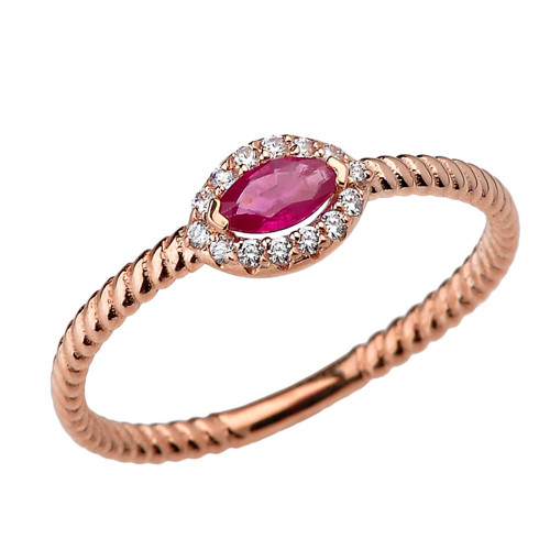 Rose Gold  Diamond and Ruby  SOLITAIRE RING