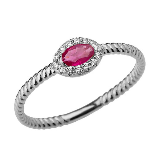 White Gold  Diamond and Ruby  SOLITAIRE RING