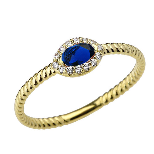 Yellow Gold  Diamond and Sapphire SOLITAIRE RING