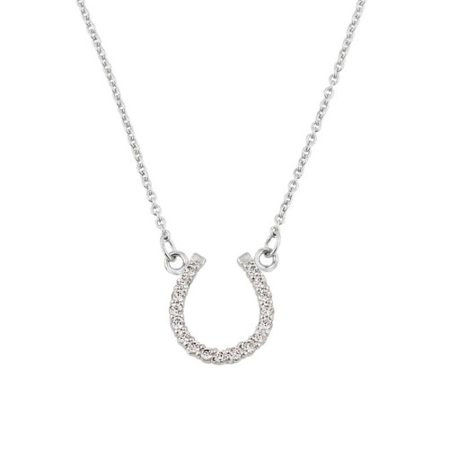 14K White Gold Cubic Zirconia Horseshoe Necklace