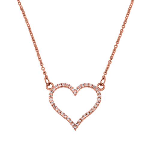 14K Rose Gold Diamonds Studded Open Heart Necklace