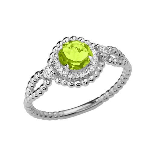 Diamond Engagement Ring White Gold Rope Double Infinity Center Peridot