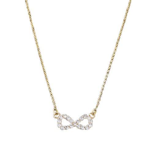 14K Dainty Yellow Gold Diamond Infinity Necklace
