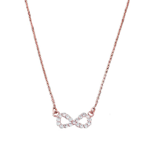 14K Dainty Rose Gold Diamond Infinity Necklace