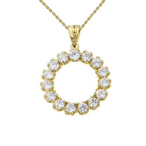 14K Elegant Reversible Diamond Circle Pendant Necklace in Yellow Gold