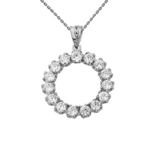 14K Elegant Reversible Diamond Circle Pendant Necklace in White Gold