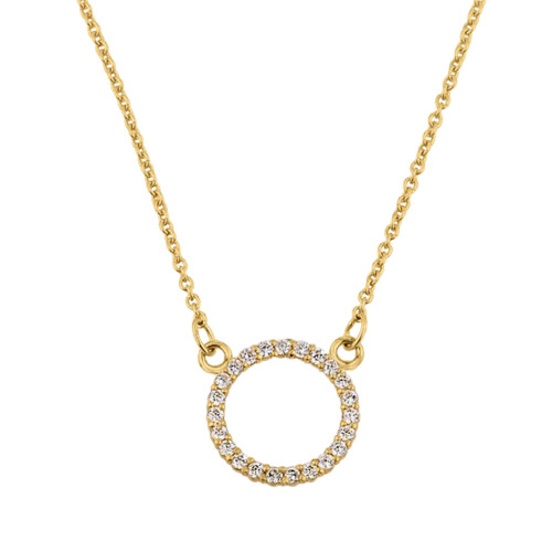 "14k Yellow Gold ""Circle of Love"" Diamond Necklace (0.65"")"