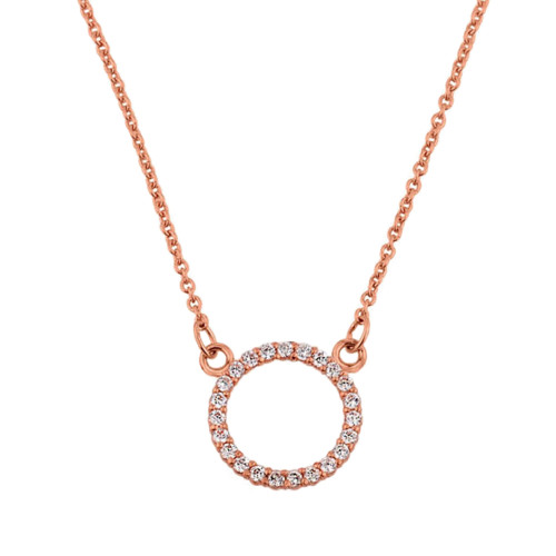 "14k Rose Gold ""Circle of Love"" Diamond Necklace (0.65"")"