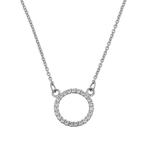"14k White  Gold ""Circle of Love"" Diamond Necklace (0.65"")"