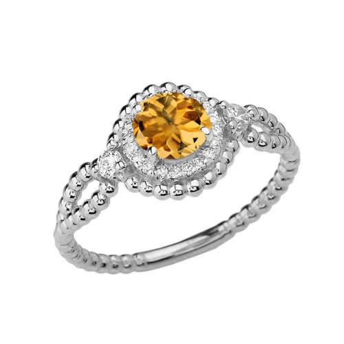 Diamond Engagement Ring White  Gold Rope Double Infinity Center Citrine