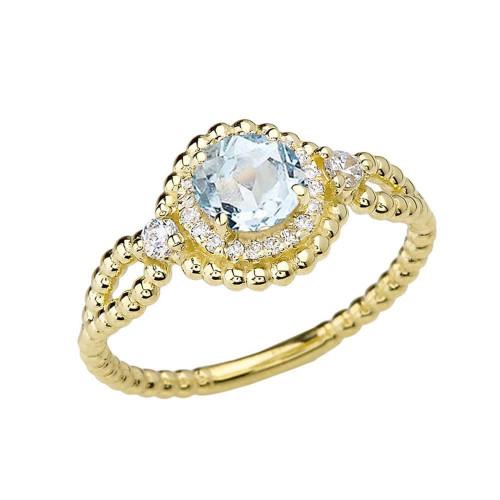Diamond Engagement Ring Yellow Gold Rope Double Infinity Center Aquamarine