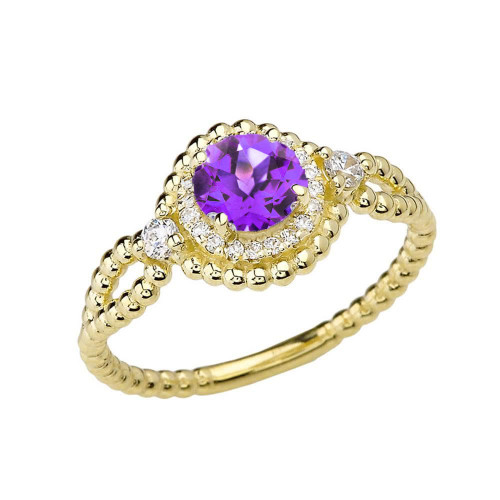 Diamond Engagement Ring Yellow Gold Rope Double Infinity Center Amethyst