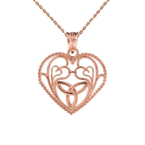 Rose Gold Rope Heart Pendant with Trinity Knot and Filigree Hearts Design