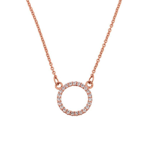 "14k Rose Gold ""Circle of Love"" Diamond Necklace"
