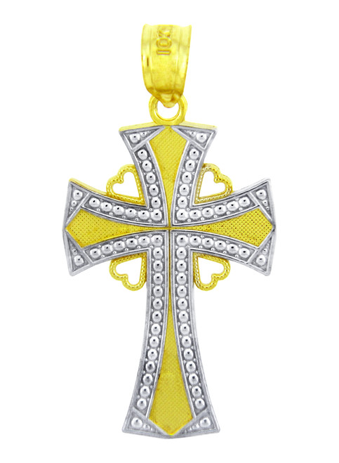Two Tone Gold Heart Cross Pendant