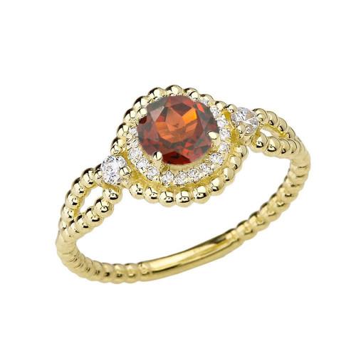 Diamond Engagement Ring Yellow Gold Rope Double Infinity Center Garnet