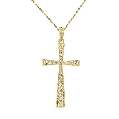 Precious Yellow Gold Cross Pendant Necklace