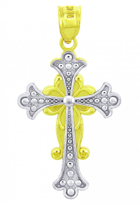 Two Tone Gold Majestic Cross Pendant
