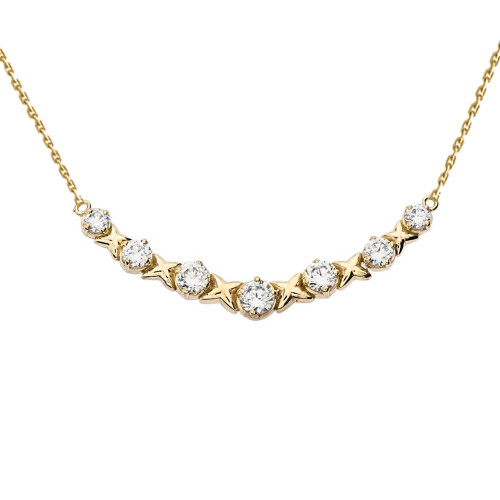 14K Yellow Gold XOXO Diamond Necklace