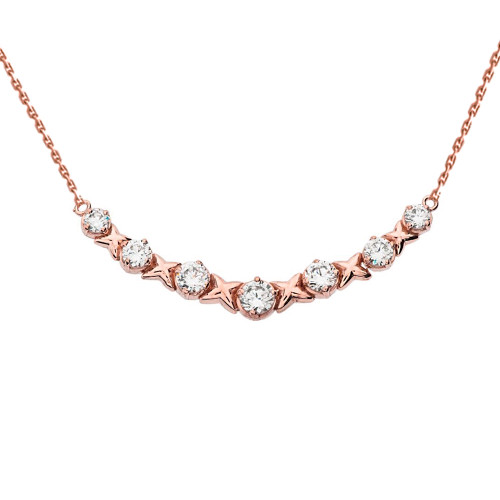 14K Rose Gold XOXO Diamond Necklace