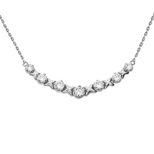 14K White Gold XOXO Diamond Necklace