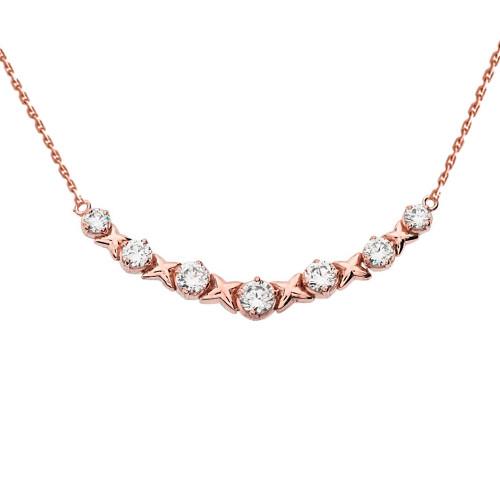 14K Rose Gold XOXO Necklace