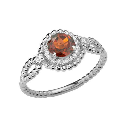 Diamond Engagement Ring White Gold Rope Double Infinity Center Garnet