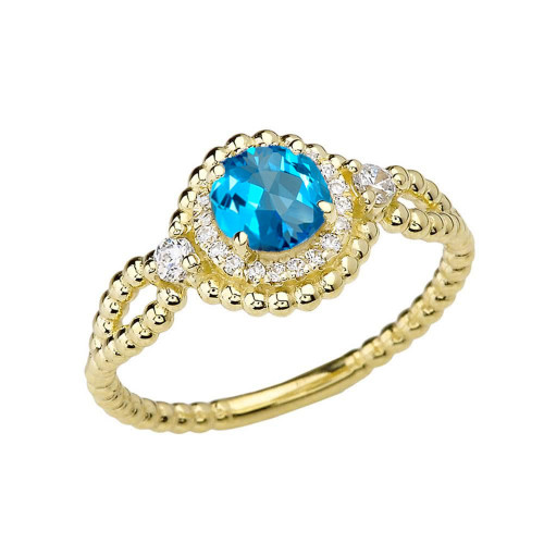 Diamond Engagement Ring Yellow Gold Rope Double Infinity Center Blue Topaz