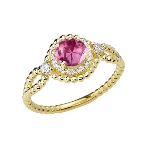 Diamond Engagement Ring Yellow Gold Rope Double Infinity Center Alexandrite