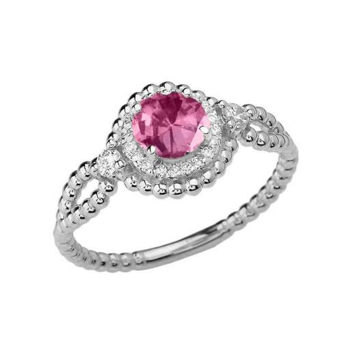 Diamond Engagement Ring White  Gold Rope Double Infinity Center Alexandrite