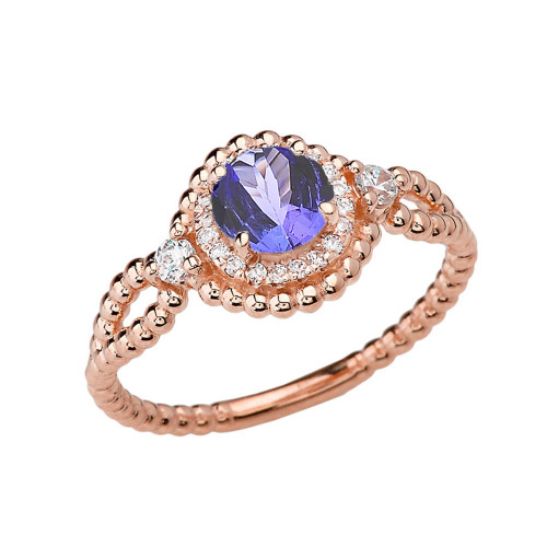 Diamond Engagement Ring Rose Gold Rope Double Infinity Center Tanzanite