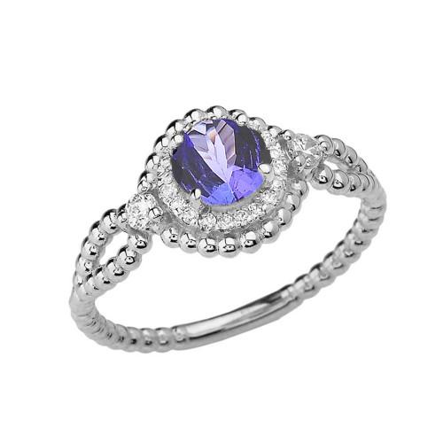 Diamond Engagement Ring White Gold Rope Double Infinity Center Tanzanite