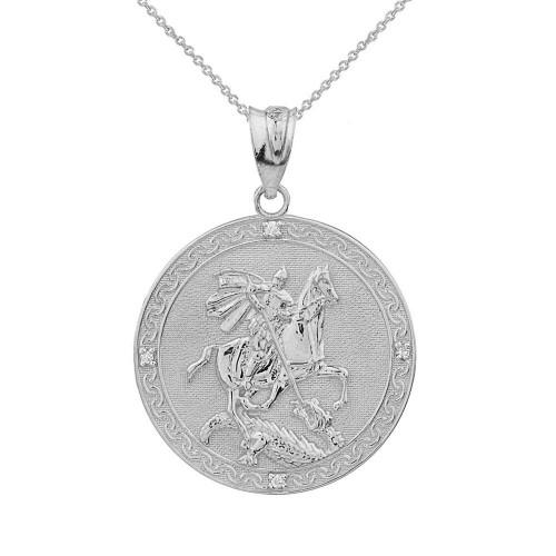 Solid White Gold  Saint George Engravable Diamond Medallion Pendant Necklace  (Small)