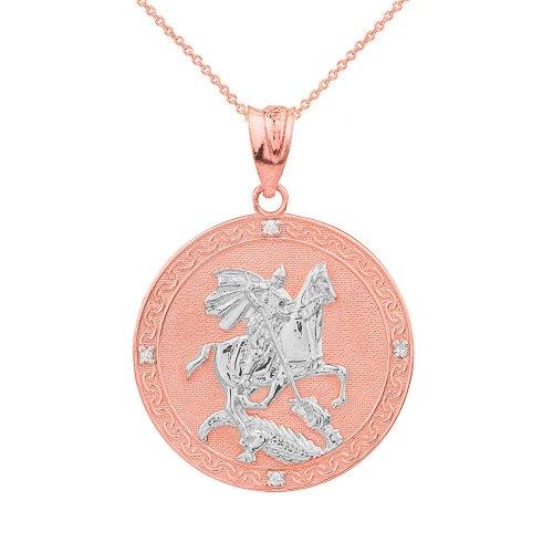 Two Tone Rose Gold Saint George Engravable Diamond Medallion Pendant Necklace  (Small)